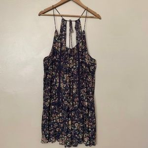 AE Navy Floral Strappy Open Back Tiered Dress XXL